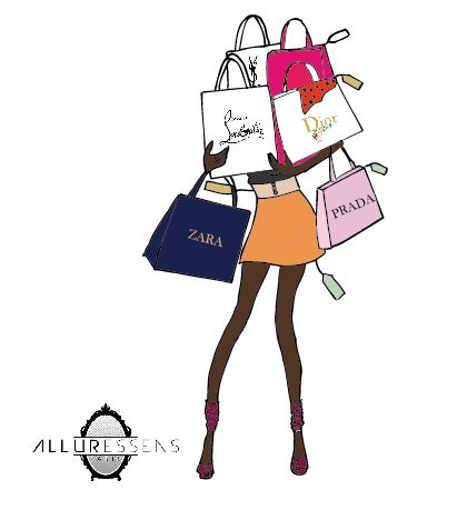 fille au shopping